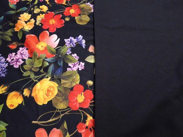 Трикотаж французский принт цветы темносиний фон