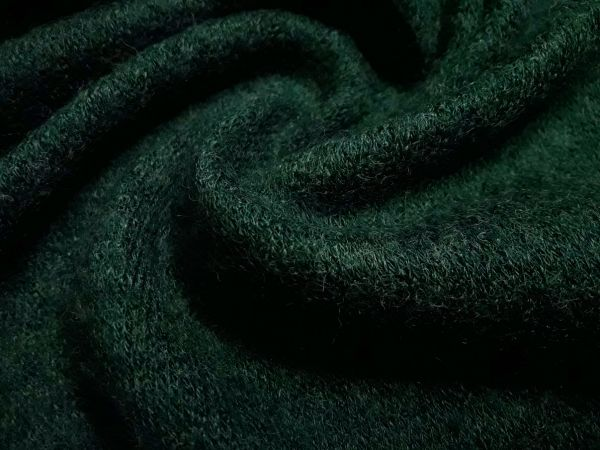 Трикотаж  ангора арктика цвет тёмно зелёный бутылочный