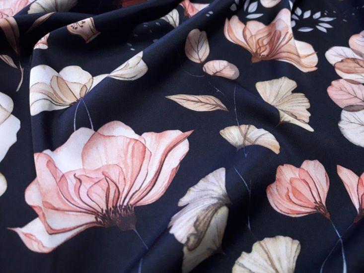 Шелк Армани принт цветы фон чёрный