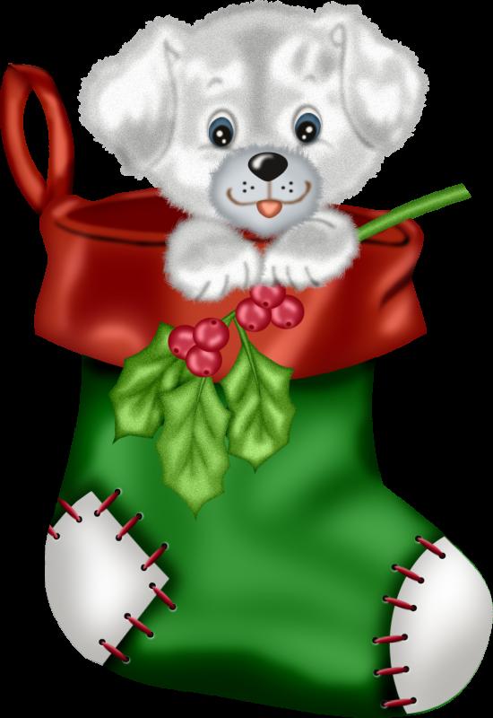 Сублимация новогодний носок пёсик