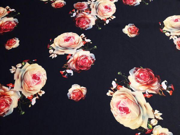 Трикотаж мис Мария розы чернильный фон