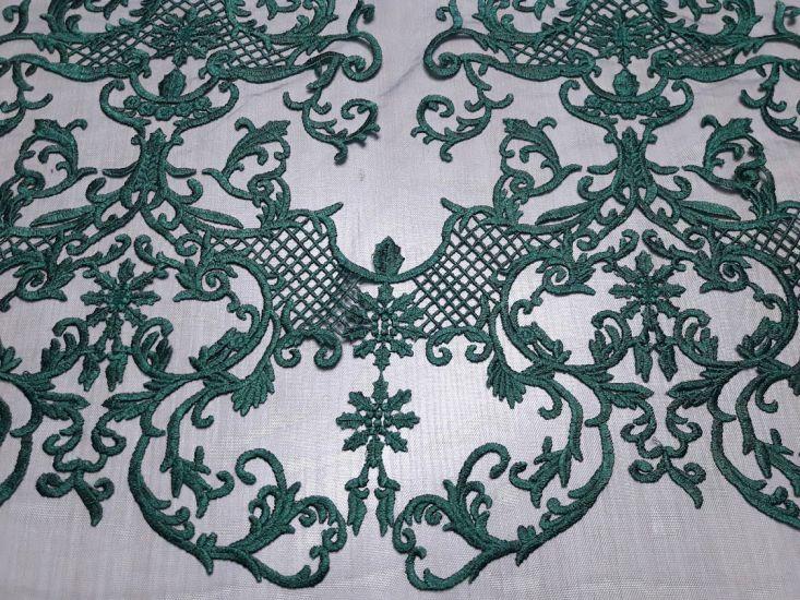 Гипюр сетка с вышивкой фестон цвет тёмно зелёный изумрудный 13465
