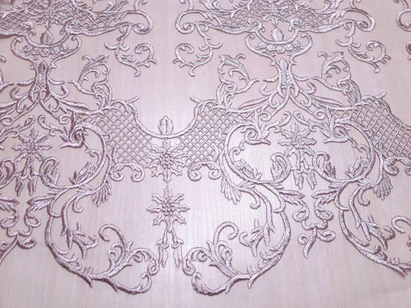 Гипюр сетка с вышивкой фестон цвет пыльная роза 13465