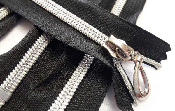 Молния карманка 18см спираль пластик, ткань цвет чёрный золото не разъемная