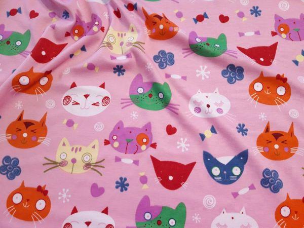 Трикотаж французский котики цвет розовый