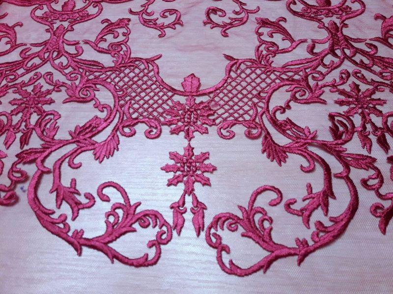 Гипюр сетка с вышивкой фестон цвет малиновый 13465