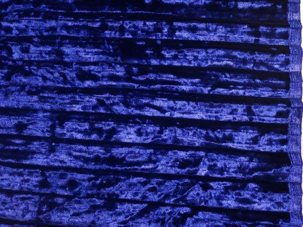 Велюр мраморный плиссе цвет синий электрик оттенок индиго
