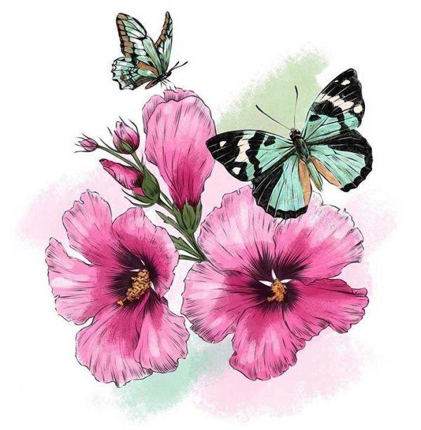 Сублимация бабочки цветы 9045