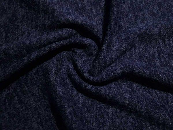 Плательный меланж с ворсом цвет тёмносиний отрез 1,4м