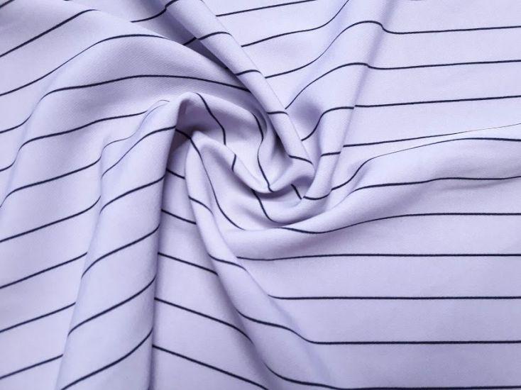 Костюмная ткань барби принт полоска цвет серо-сиреневый