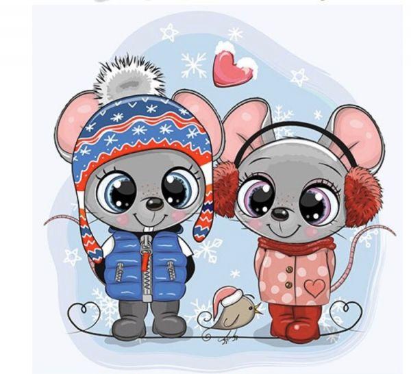Сублимация милые мышата зима