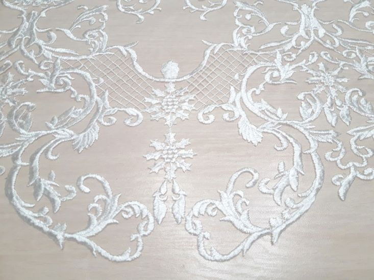Гипюр сетка с вышивкой фестон цвет белый молочный 13465