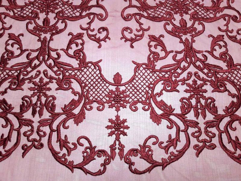 Гипюр сетка с вышивкой фестон цвет бордо 13465