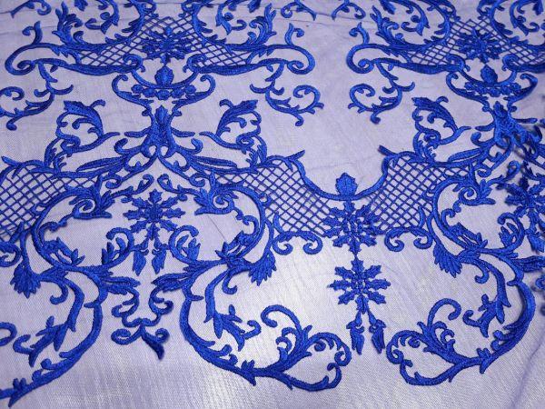 Гипюр сетка с вышивкой фестон цвет синий электрик 13465