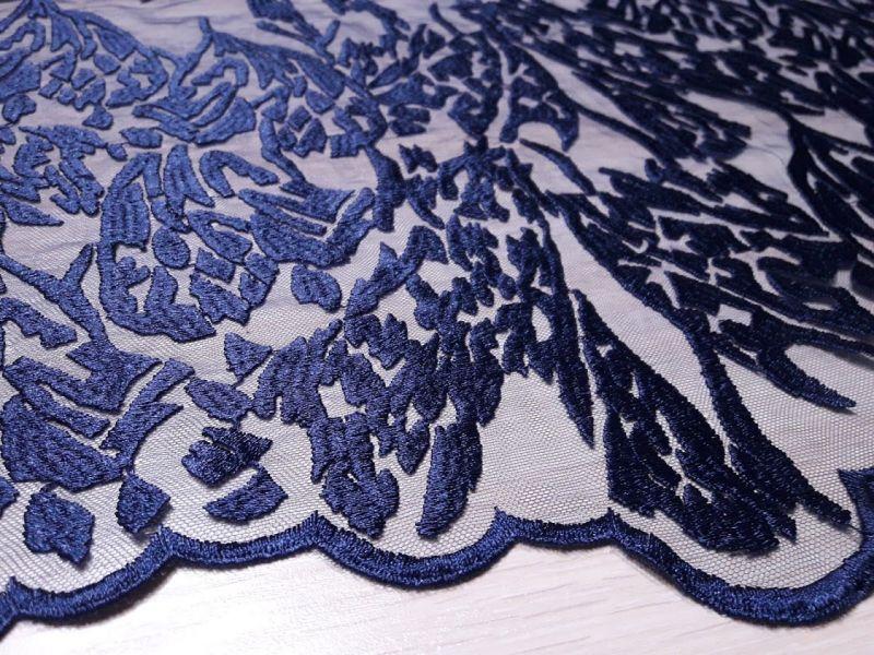 Гипюр сетка с вышивкой фестон цвет тёмно синий 13465