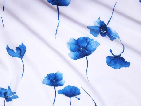 Шифон софт принт цветы синий эл на беломолочном фоне