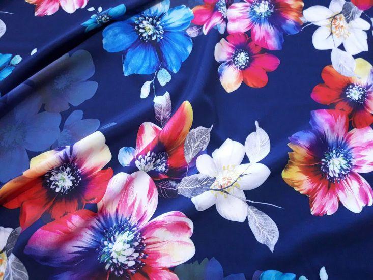 Шифон софт принт цветы фон тёмно синий 1909-41-3