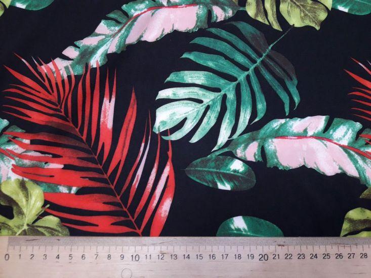 Шифон софт принт листья монстЕра фон чёрный отрез 1,3м