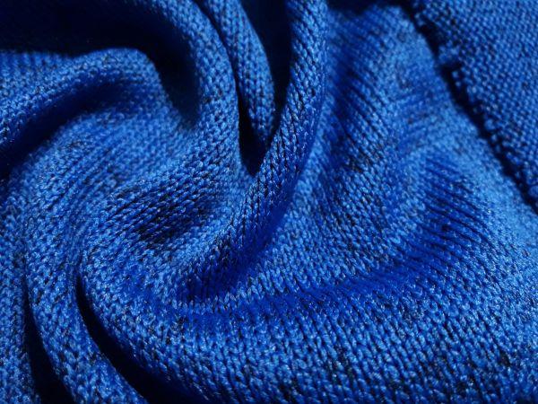 Трикотаж двухнитка вязаная каро цвет синий электрик