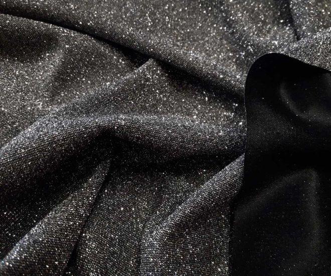 Трикотаж хамелеон глитер цвет чёрный серебристый
