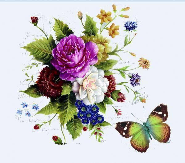 Сублимация букет с бабочкой