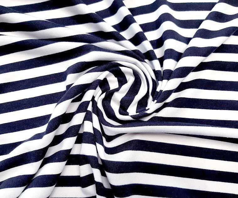 Вискозный трикотаж полоска 1см цвет тёмно синий белый