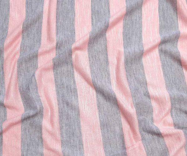 Вискозный трикотаж полоска 2,5см цвет серый персик