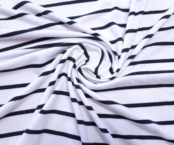 Вискозный трикотаж полоска цвет чёрный 5мм белый 2см, отрез 0,95м