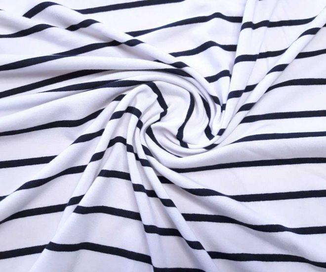 Вискозный трикотаж полоска цвет чёрный 5мм белый 2см