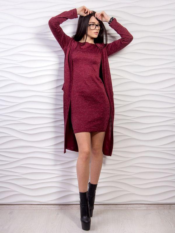Плательный меланж с ворсом цвет бордо