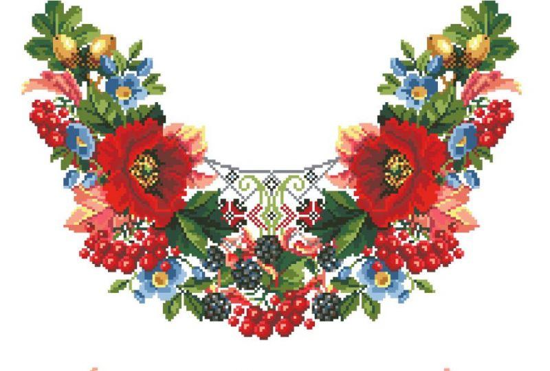 Сублимации Цветы вышивка 1 воротик