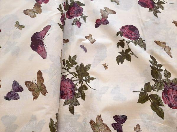 Постельная ткань бязь Gold lux принт бабочки с розами