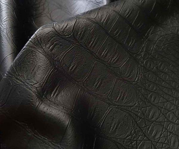 Кожзам стрейч на трикотаже рептилия цвет чёрный