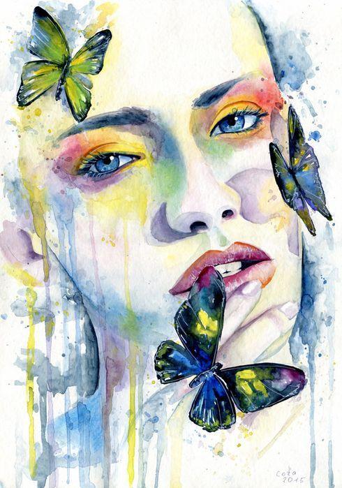 Сублимации девушка бабочки акварель