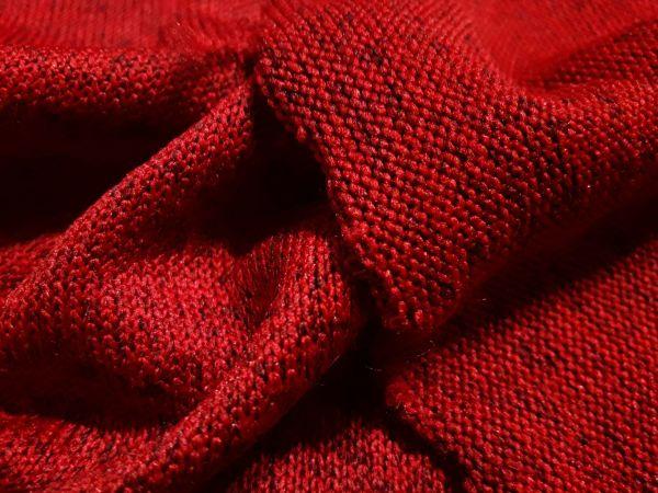 Трикотаж двухнитка вязаная каро цвет красный меланж